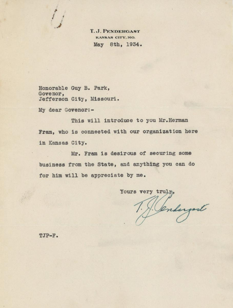 Letter from Tom Pendergast to Gov. Guy Park