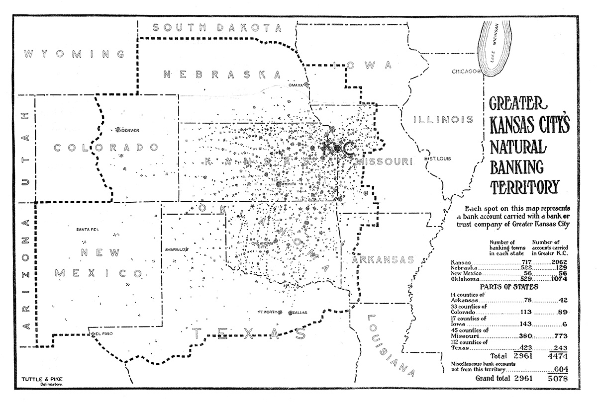 Kansas City's proponents offered several maps demonstrating the city's central economic position within the region.
