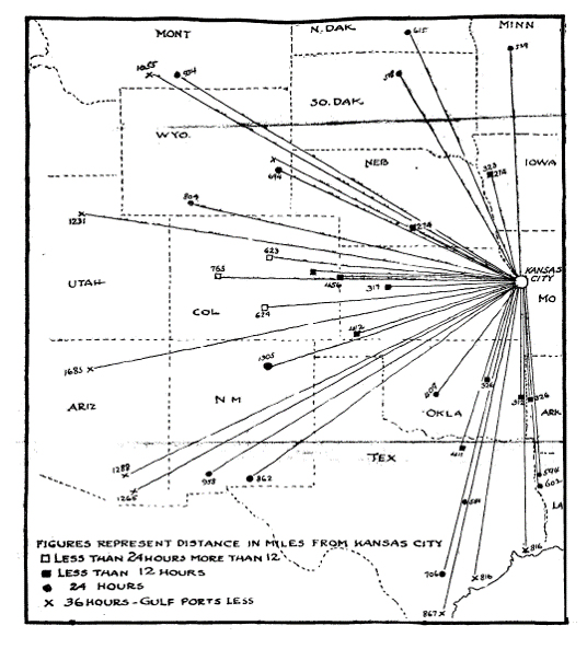 Mail routes and delivery times from Kansas City to the West demonstrated the extent of the city's rail connections and speed of service
