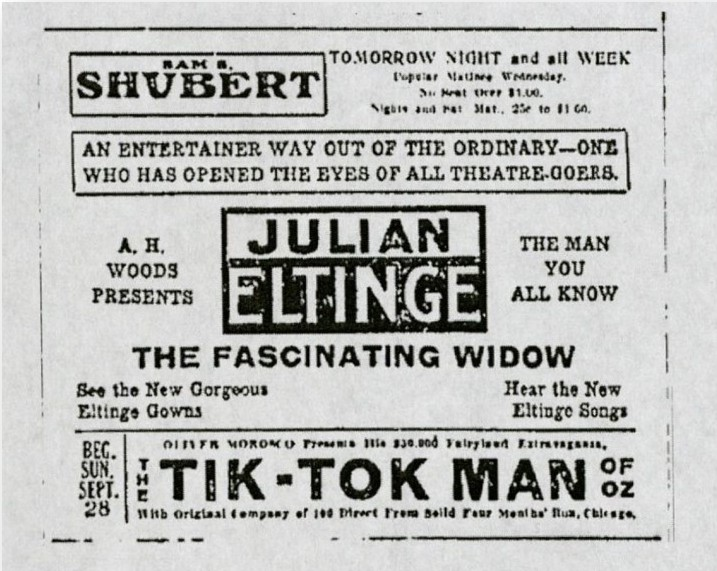 Advertisement for Eltinge performance