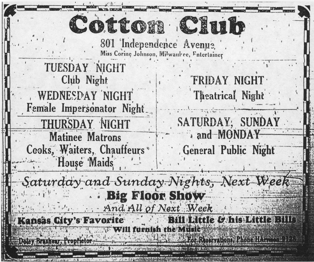 1931 advertisement for the Cotton Club