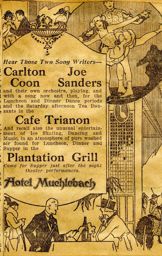 Ad for band at Café Trianon from Joe's scrapbook