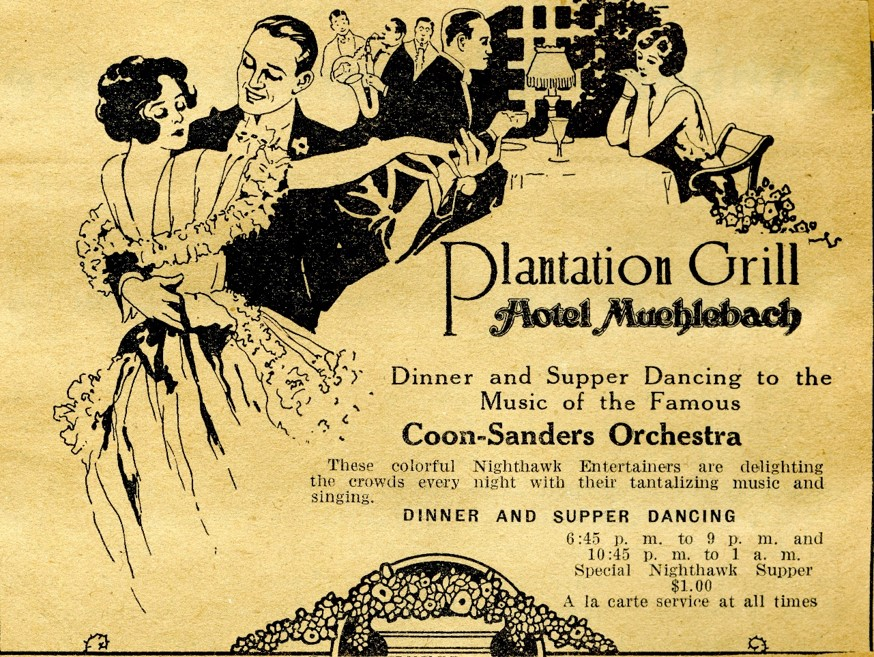 Coon Sanders advertisement for the engagement at Plantation Grill