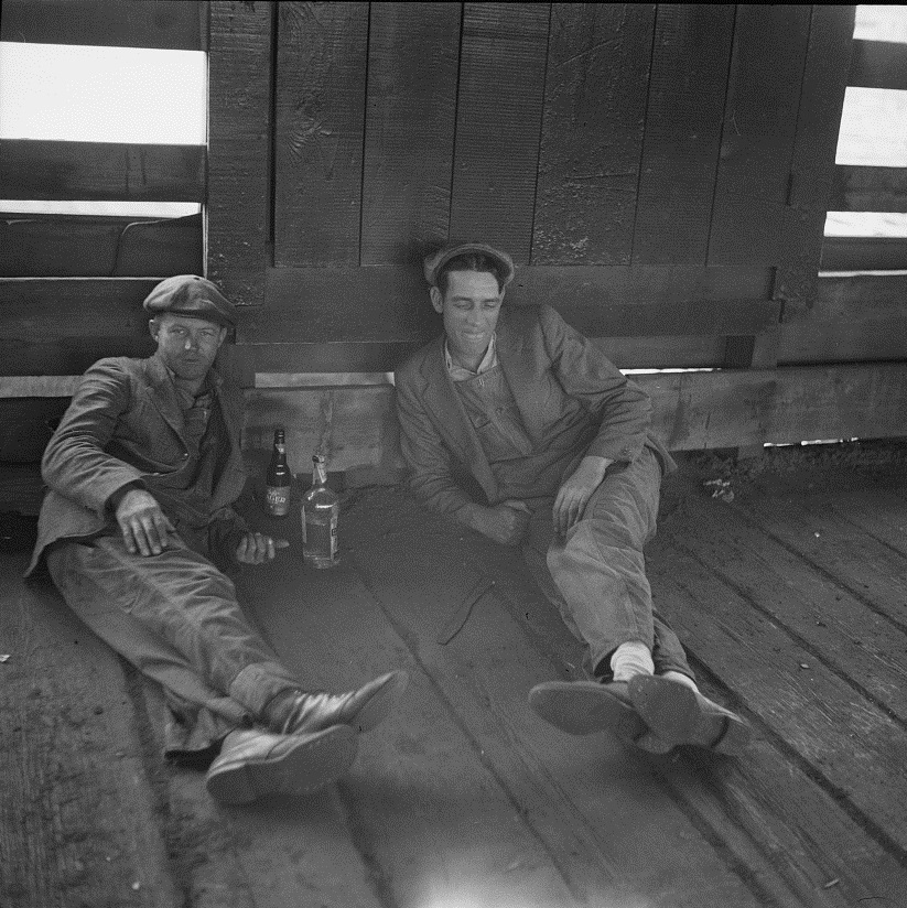 Stockyards workers at rest