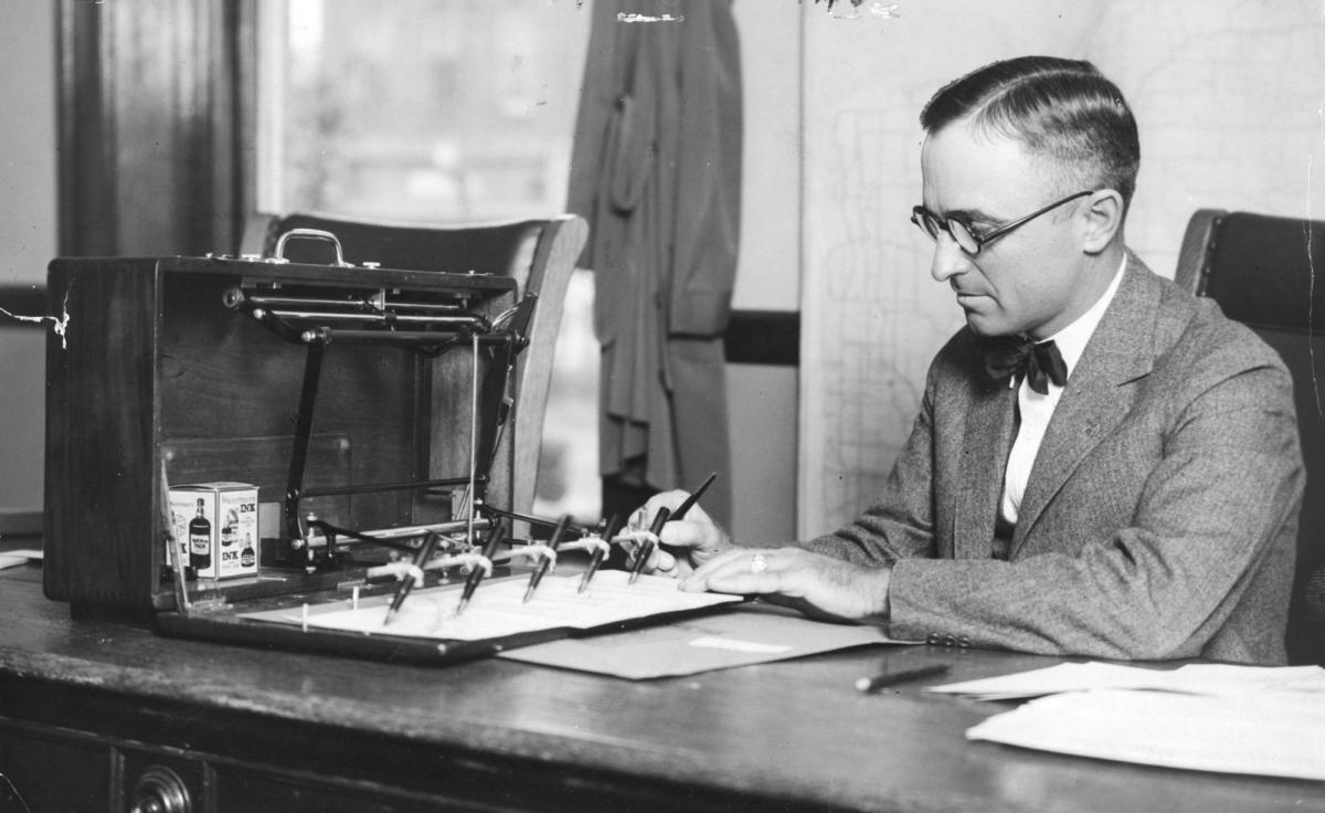 Harry Truman at his desk