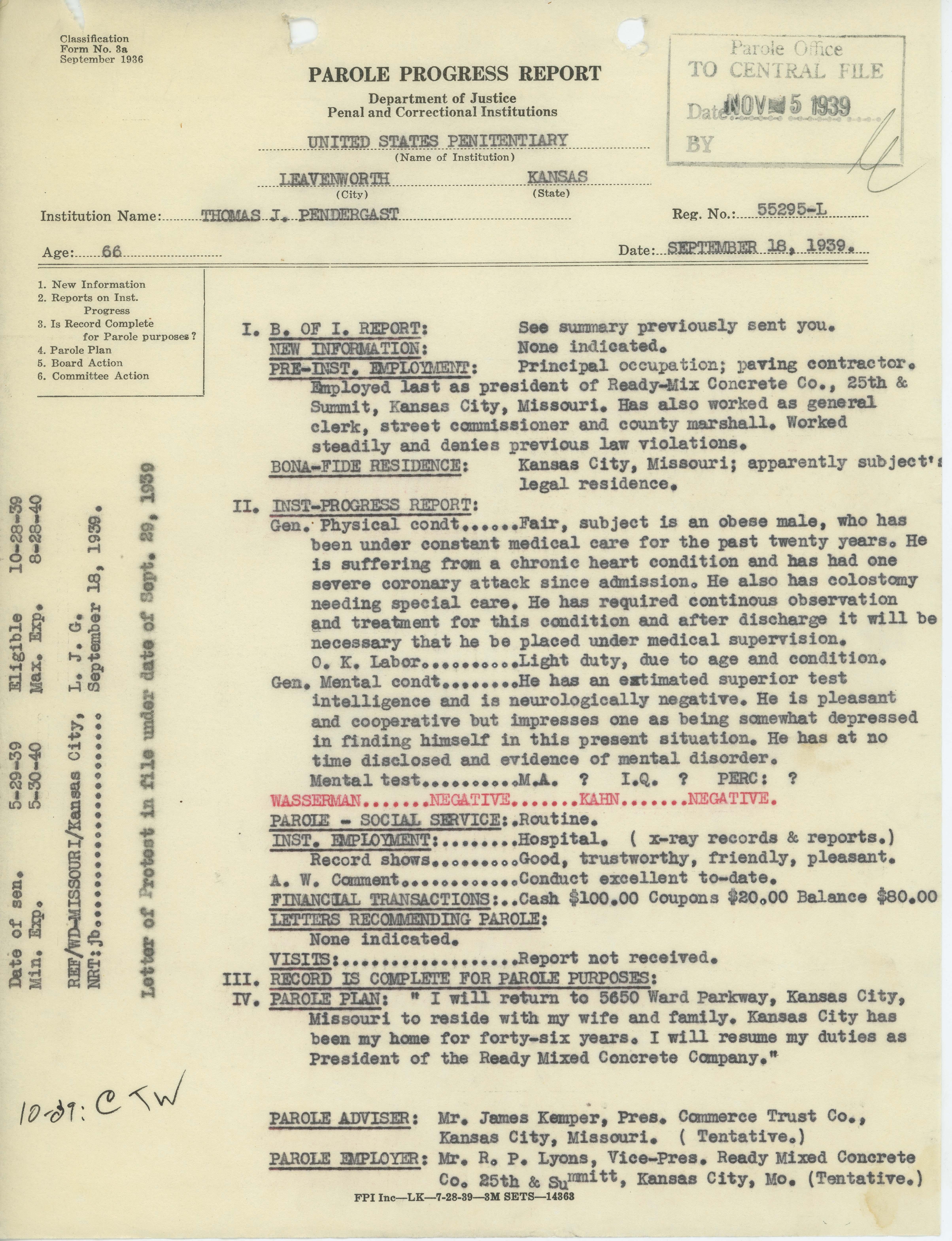 431016fb69 Tom Pendergast Inmate File  Parole Progress Report