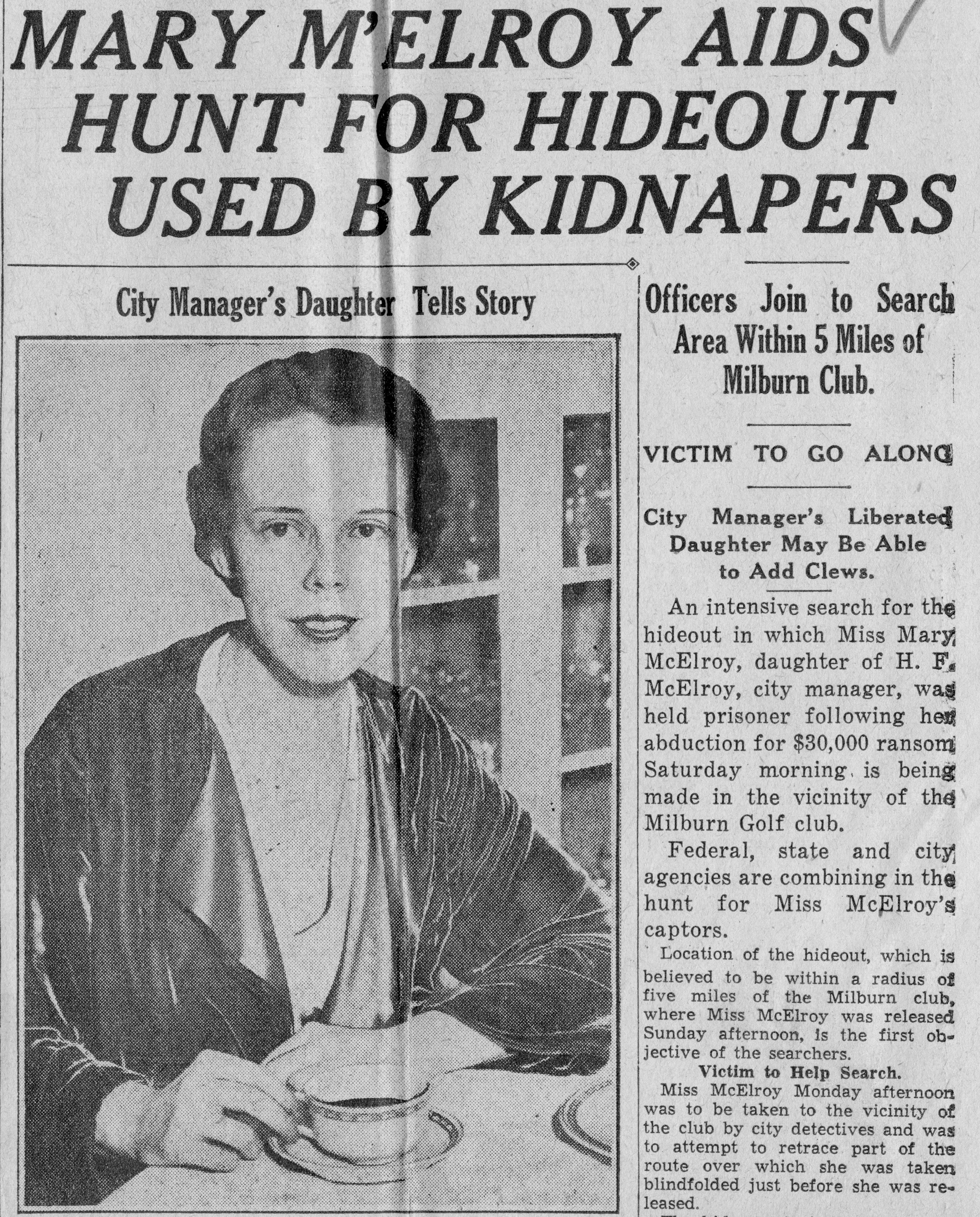 Quot Mary M Elroy Aids Hunt For Hideout Used By Kidnapers