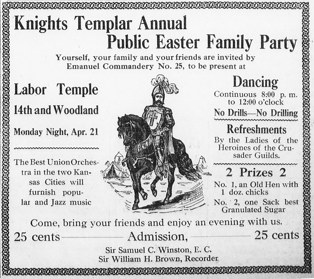 """Knights Templar Public Annual Family Easter Party,"" Kansas City Sun, April 18, 1919, 5"
