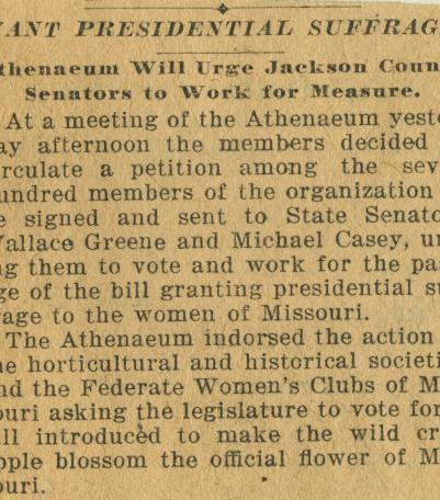 Athenaeum club pushes for suffrage.