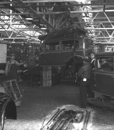 Workers at automobile plant