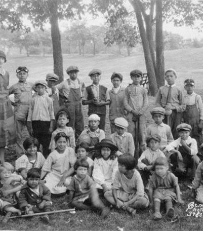Dorothy Gallagher and children at the Guadalupe Center