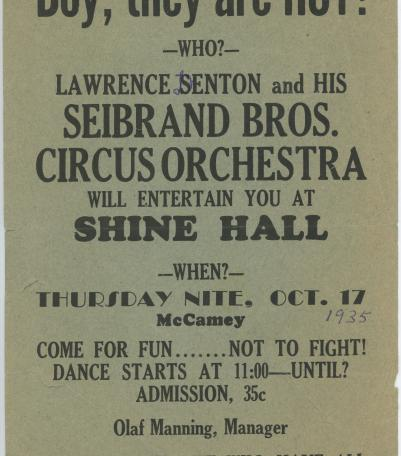 Lawrence Denton and His Seibrand Brothers Circus Orchestra Handbill