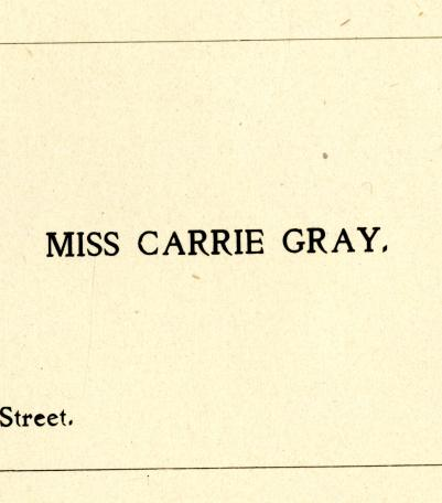 City Directory Contact Information for Miss Carrie Gray