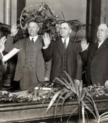 Harry Truman being sworn in as judge