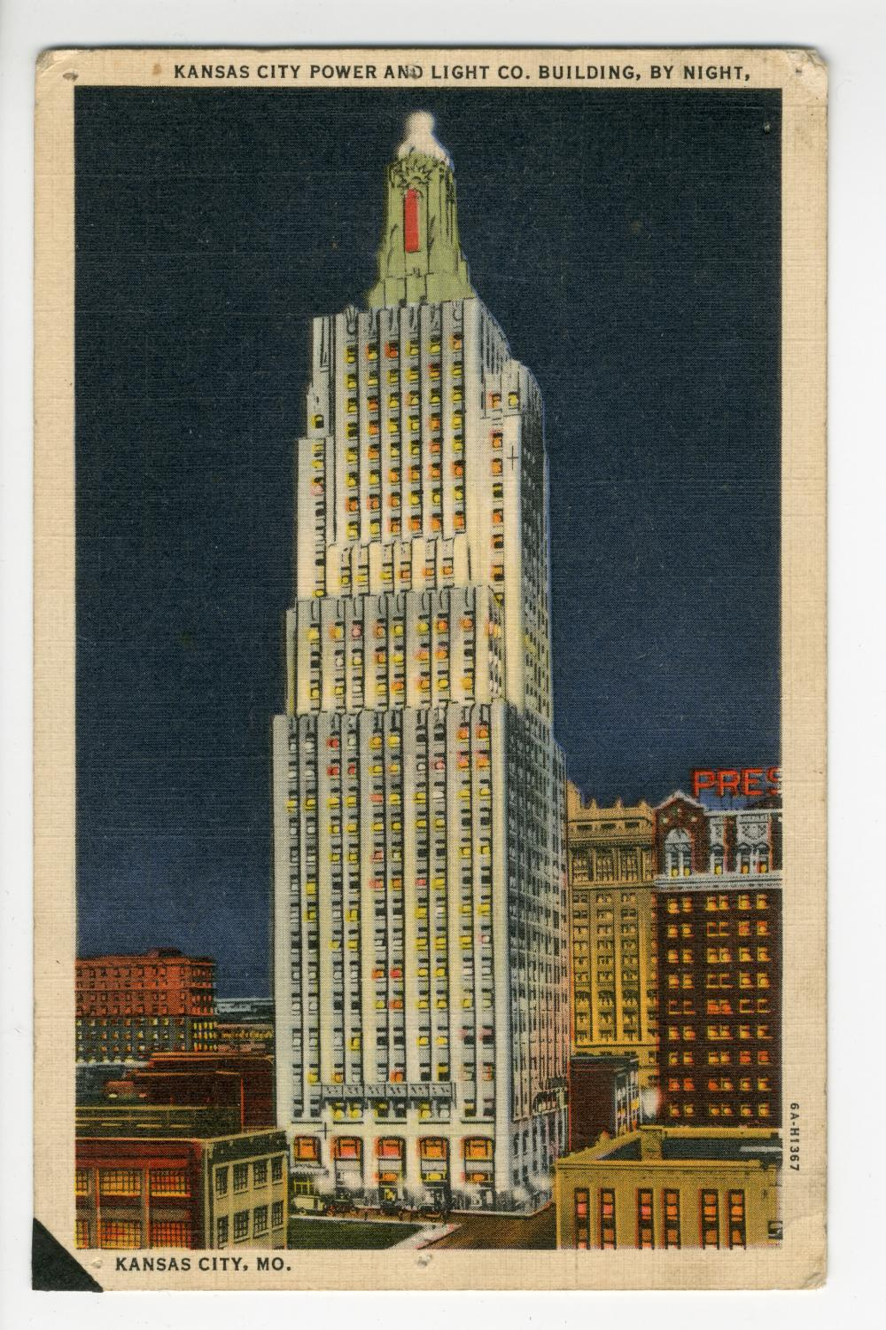 Kansas City Power And Light Co. Building, By Night