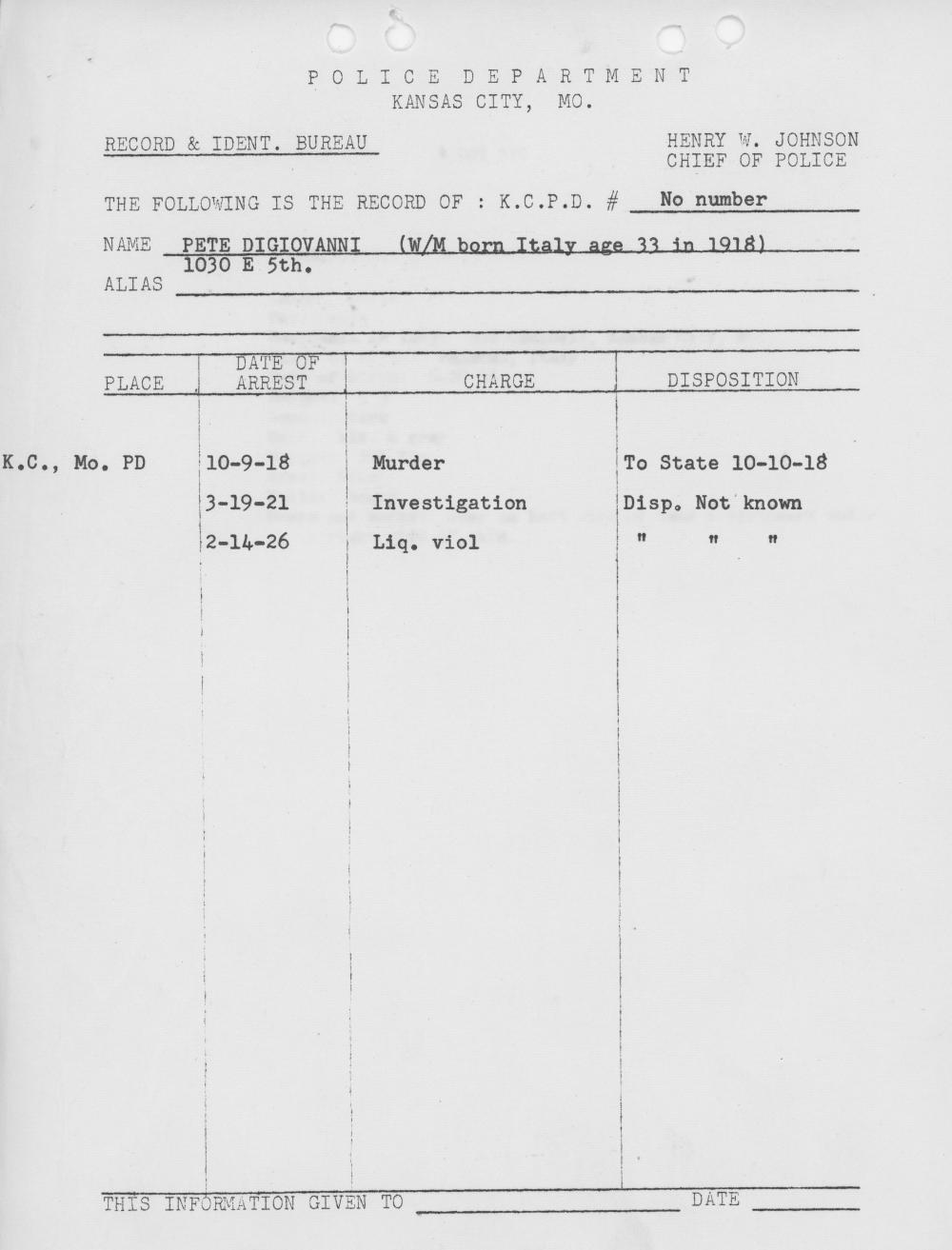 Kansas City Police Department Record for Peter DiGiovanni