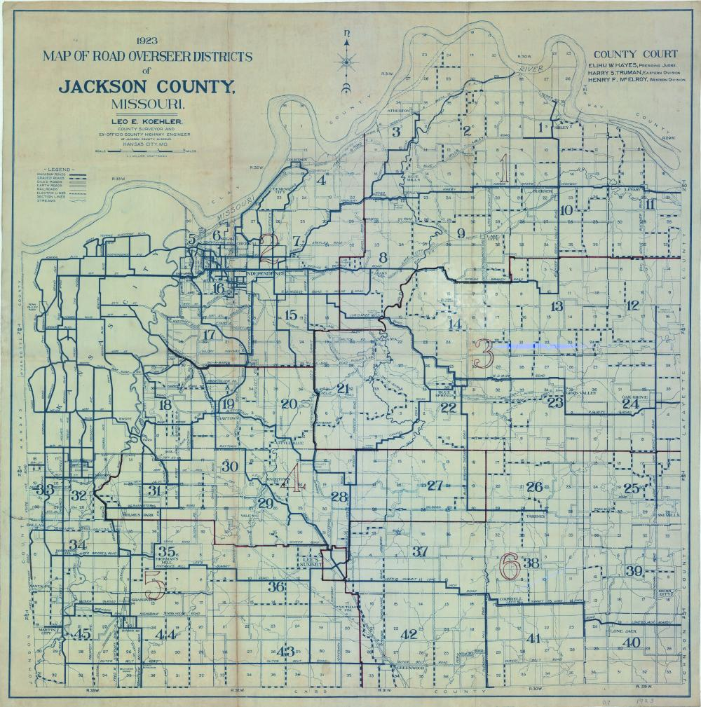 1923 Map Of Road Overseer Districts Of Jackson County Missouri