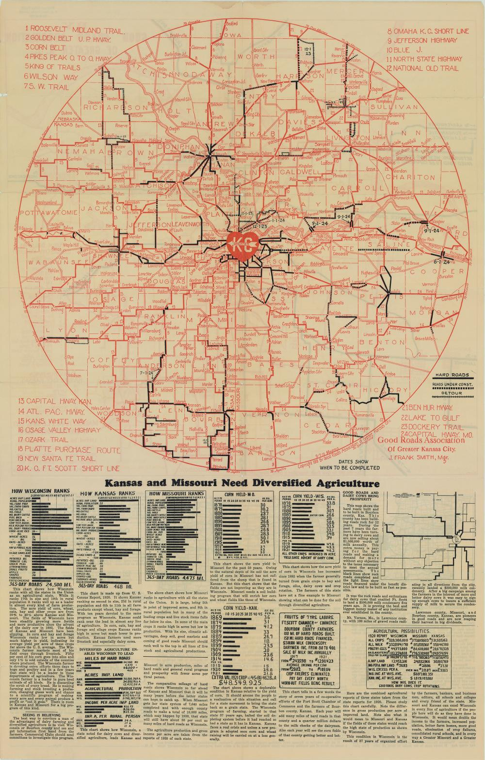 1919 Road Map of Greater Kansas City | The Pendergast Years