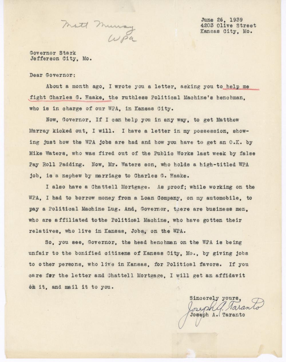 From Joseph A. Taranto to Governor Stark