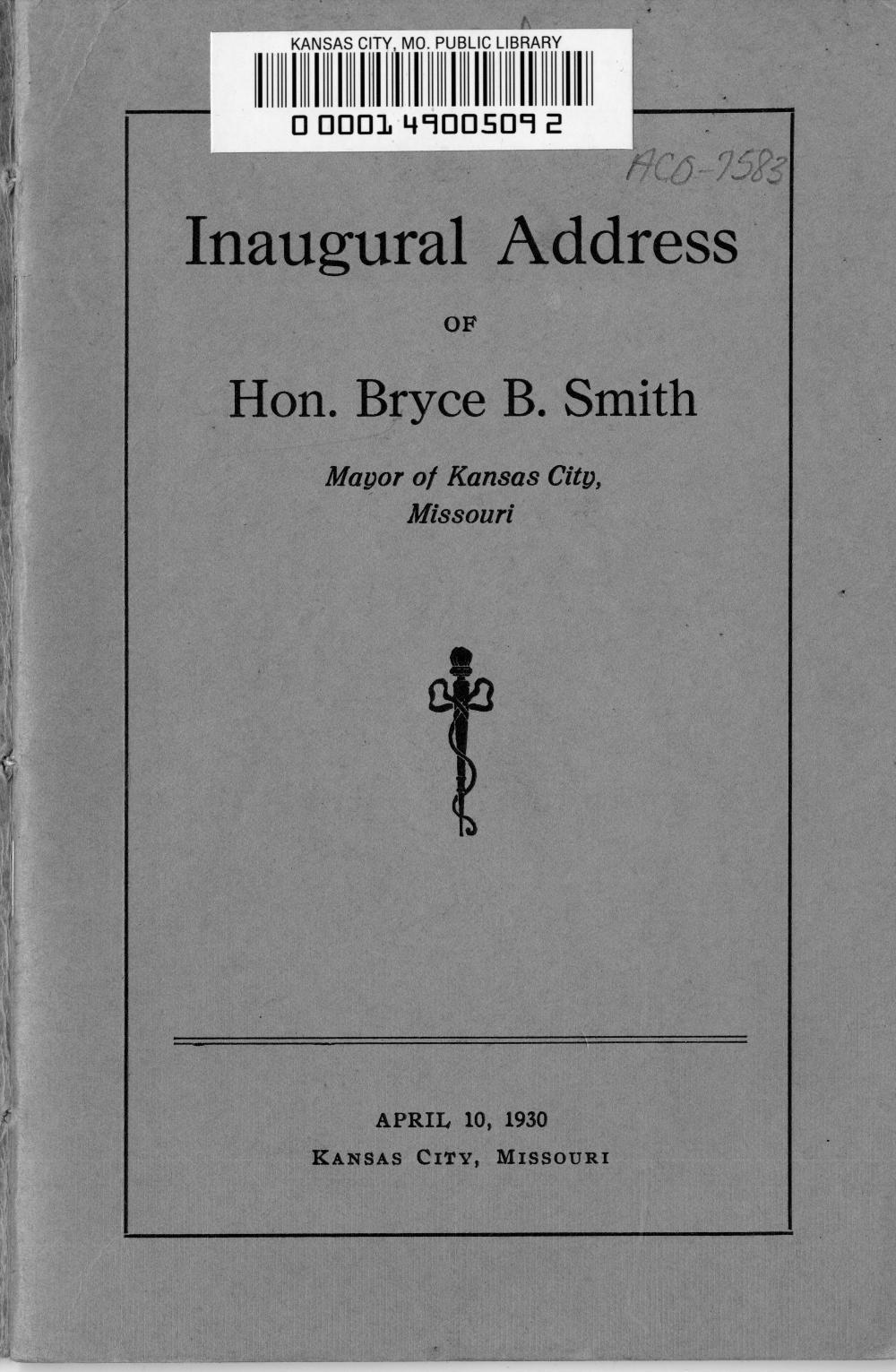 Inaugural Address of Hon. Bryce B. Smith