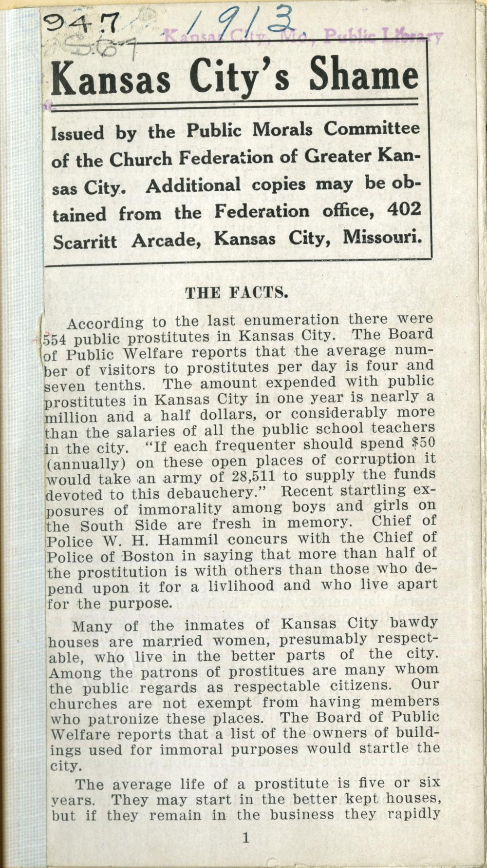 Kansas City's Shame, 1913 pamphlet on vice in Kansas City
