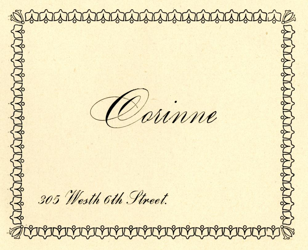 City Directory Address Card for Corinne