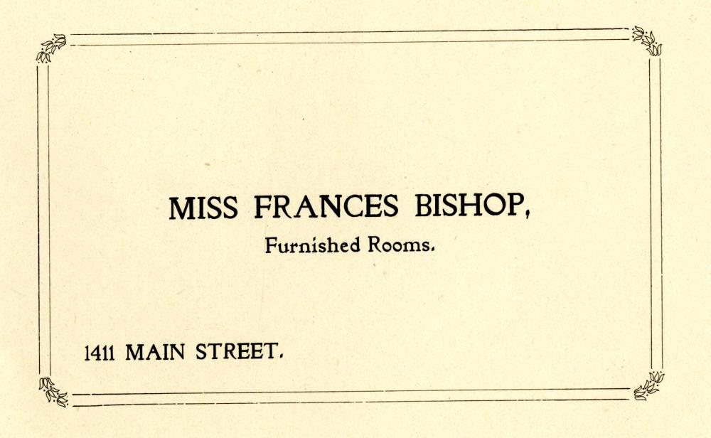 City Directory Address Card for Miss Frances Bishop