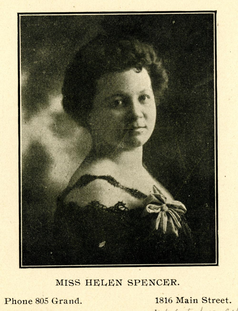 City Directory Portrait of Miss Helen Spencer