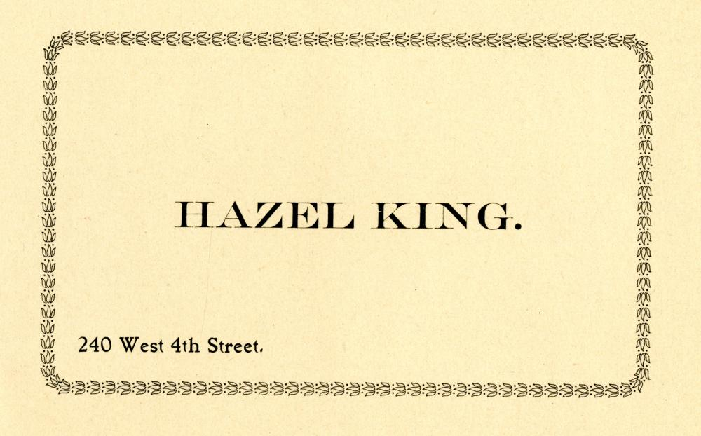 City Directory Address Card for Hazel King