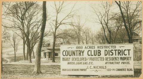 Sign for development of the Country Club District