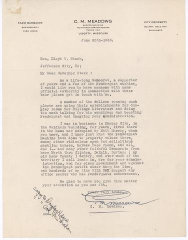 letter From C. M. Meadows to Lloyd C. Stark