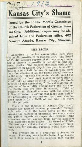 Kansas City's Shame, 1913 pamphlet on vice in Kansas City