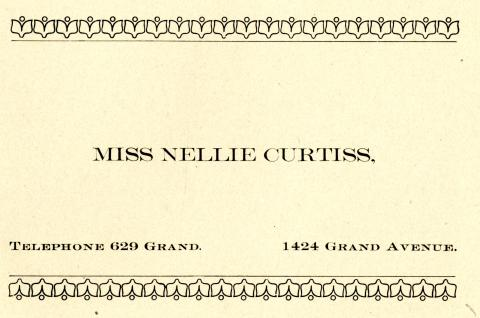 City Directory Contact Information for Miss Nellie Curtiss