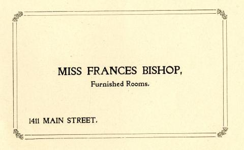 City Directory Address Card for Miss Frances Bishop