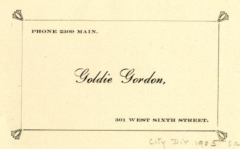 City Directory Contact Information for Goldie Gordon